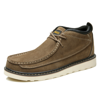 Autumn and Winter British style leather tooling hight-top shoes Desert boots Martin boots (Camel Brown)