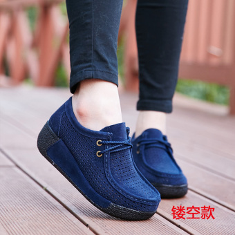 Autumn and Winter casual Plus velvet cotton-padded shoes thick bottomed shoes (Blue Lace Hollow Section)
