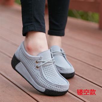 Autumn and Winter casual Plus velvet cotton-padded shoes thick bottomed shoes (Gray lace Hollow Section)