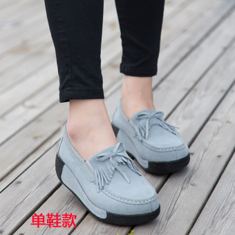 Autumn and Winter casual Plus velvet cotton-padded shoes thick bottomed shoes (Gray Tassel shoes Models)