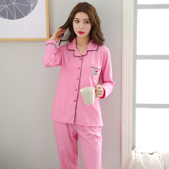 Autumn and Winter cotton female long-sleeved cotton cardigan tracksuit pajamas (Lovely posts women's)