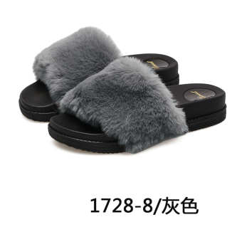 Autumn and Winter cute plush non-slip outerwear female drag women's slippers (Gray)