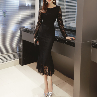 Autumn and Winter Fashion New style lace porous fishtail dress (Black)