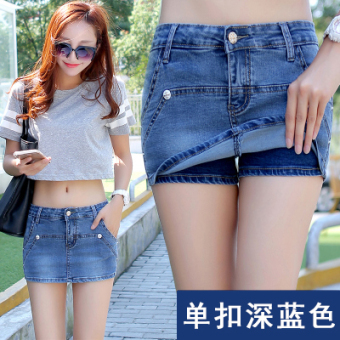 Autumn and Winter female New style thin Slim fit denim pants culottes skirt (A paragraph blue)
