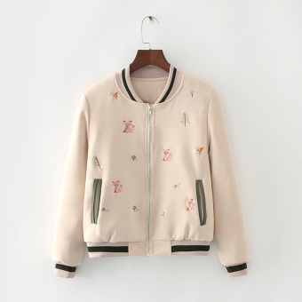 Autumn and Winter Japanese-style embroidered soft jacket baseball clothes (Quilted beige color)