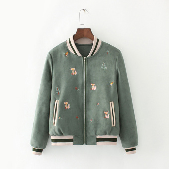 Autumn and Winter Japanese-style embroidered soft jacket baseball clothes (Quilted green)