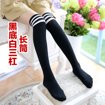 Autumn and Winter Japanese-style knee high socks stockings socks (Black White three bars thick)