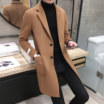 Autumn and Winter Korean-style men's Slim fit mid-length coat (Camel)