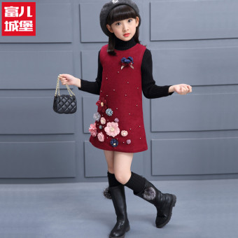 Autumn and Winter Korean-style New Style Children children's clothing winter woolen skirt woolen vest skirt (Wine red color)