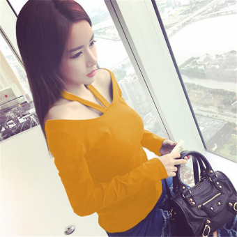 Autumn and Winter Korean-style Slim fit slimming Plus-sized Top T-shirt (Yellowish brown long-sleeved)