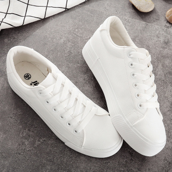 Autumn and Winter leather female muffin bottom Korean-style casual shoes white shoes (White)