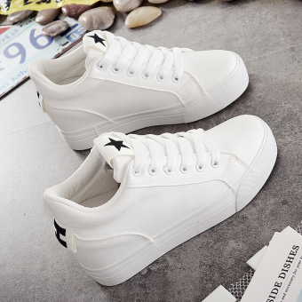 Autumn and Winter leather lace thick bottomed elevator platform shoes white shoes (White and black)
