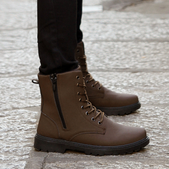 Autumn and Winter male combat boots hight-top boots (Brown)