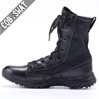 Autumn and Winter men hight-top combat boots (Men's + Black leather color)
