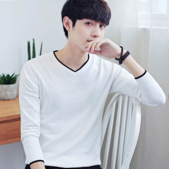 Autumn and Winter men's long-sleeved t-shirt (757 white)