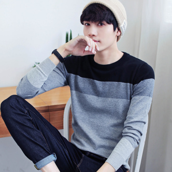 Autumn and Winter men's long-sleeved t-shirt (763 black)