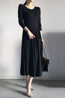 Autumn and Winter modal slimming mid-length type A base skirt long-sleeved dress (Black)