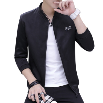 Autumn and Winter Plus velvet autumn New style jacket baseball clothes men's jacket (1701 black)