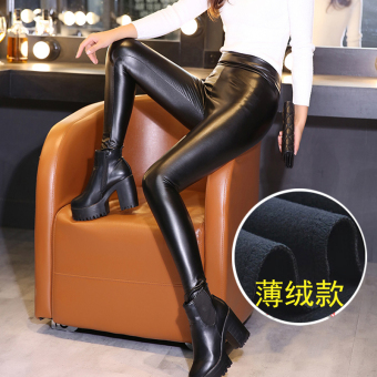 Autumn and Winter Plus velvet female outerwear high-waisted leather pants (Black (PU Leather thin cashmere models))
