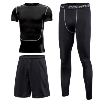 Autumn and Winter running quick-drying breathable basketball training suit fitness clothes ((Short sleeved) 3 sets)
