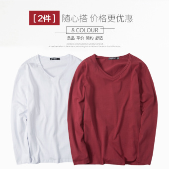 Autumn and Winter Slim fit men's heattech (Long-sleeved v-neck-white + wine red)