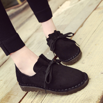 Autumn and Winter suede student foot covering Retro lace casual shoes small leather shoes (Black)