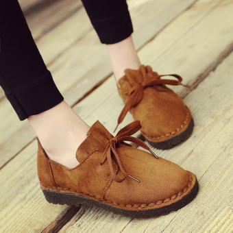 Autumn and Winter suede student foot covering Retro lace casual shoes small leather shoes (Casual color)