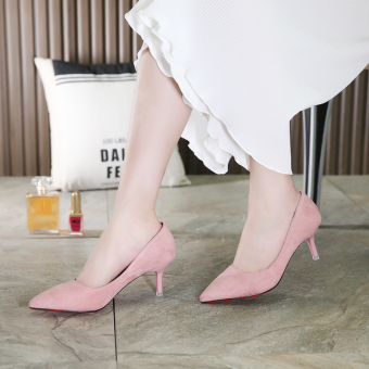 Autumn and Winter thin heeled pointed wedding shoes high-heeled shoes (Pink [with high cm 5cm])