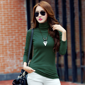 Autumn and Winter versatile Plus velvet female long-sleeved shirt thick bottoming shirt ([High collar] dark green color)