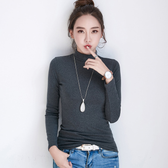 Autumn and Winter versatile Plus velvet female long-sleeved shirt thick bottoming shirt ([In the high collar] dark gray color)