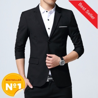 Autumn Clothing Men Costume Jacket Casaco Blazer Cardigan Wedding Suits Jackets (Black) - intl