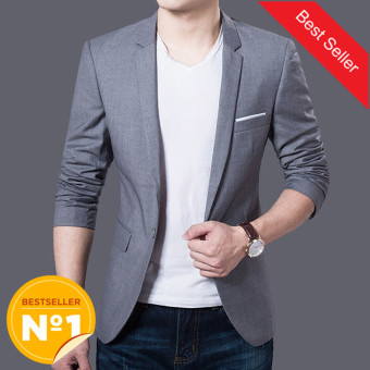 Autumn Clothing Men Costume Jacket Casaco Blazer Cardigan WeddingSuits Jackets (Grey) - intl