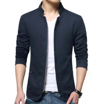 Autumn Fashion Korean Style Slim Fit Shirt Collar Cotton Jacket For Men Youth Male Casual Cotton Coat Blazers(Blue) - intl