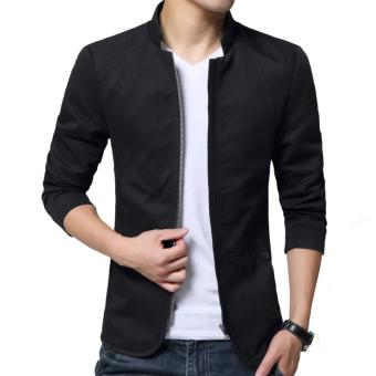 Autumn Fashion Korean Style Slim Fit Shirt Collar Cotton Jacket ForMen Youth Male Casual Cotton Coat Blazers(Black) - intl
