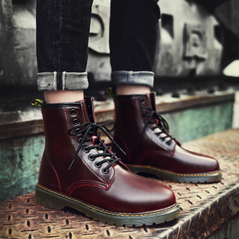Autumn hight-top boots Dr. Martens (Red Wine)