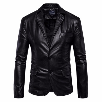 Autumn Men PU Leather Motorcycle Jackets Leisure Biker Outerwear(Black) - intl