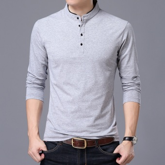 Autumn men's long-sleeved t-shirt (Collar gray)