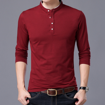 Autumn men's long-sleeved t-shirt (Collar wine red)