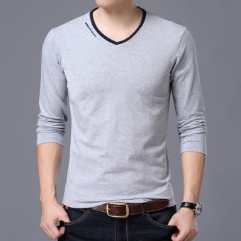 Autumn men's long-sleeved t-shirt (V-neck gray)