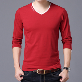 Autumn men's long-sleeved t-shirt (V-neck wine red)
