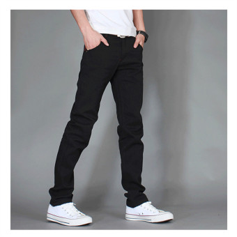Autumn New Arrival Men's Fashion Pants Slim Casual Denim Jeans for Men Long Jeans Pants Male Pure Color Solid Jeans Plus Size 28-38 Black - Intl