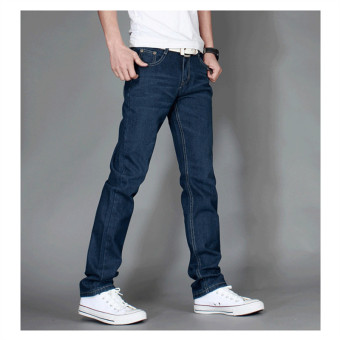 Autumn New Arrival Men's Fashion Pants Slim Casual Denim Jeans for Men Long Jeans Pants Male Pure Color Solid Jeans Plus Size 28-38 Blue - Intl