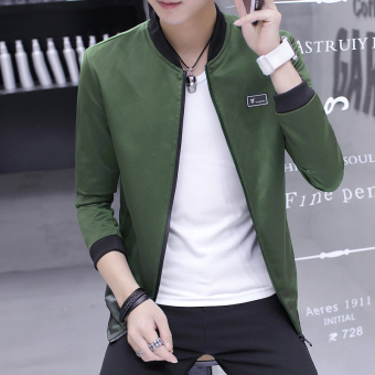 Autumn New style casual jacket Slim fit student baseball clothes men's jacket (1701 dark green)