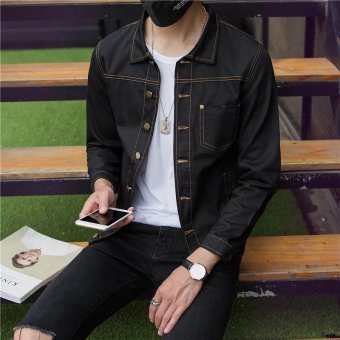 Autumn New style men's jacket denim jacket (Black)