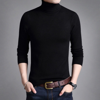 Autumn New style men's long-sleeved t-shirt (Black)