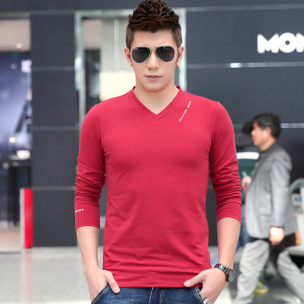 Autumn New style men's long-sleeved t-shirt (Red)