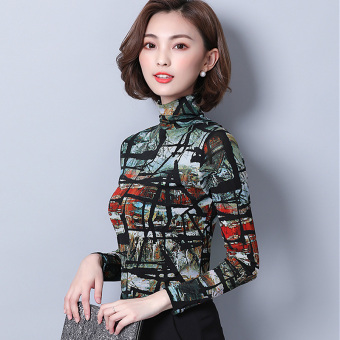 Autumn New style Print mesh bottoming shirt (Green)