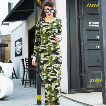 Autumn New style Slim fit Slimming effect long dress (F1450 camouflage)