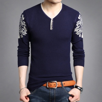 Autumn New style v-neck men's T-shirt (0101 dark blue)