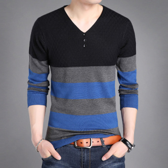 Autumn New style v-neck men's T-shirt (5928 black)